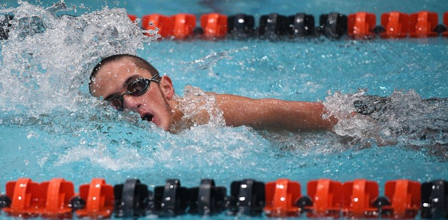 St. Charles East's Leo Czerwinski competes in the athletes with disabilities 200-yard freestyle.