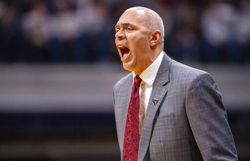 DePaul head coach Dave Leitao reacts to the action on the court during the first half of an NCAA college basketball game against Butler, Saturday, Feb. 29, 2020, in Indianapolis.