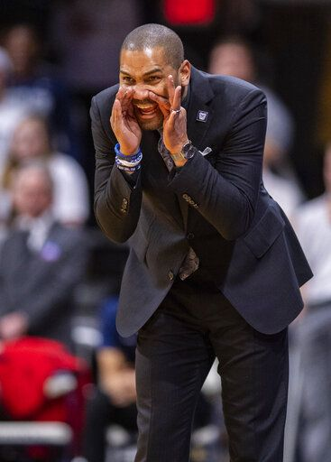 Butler head coach LaVall Jordan communicates with his players on the court during the first half of an NCAA college basketball game against DePaul, Saturday, Feb. 29, 2020, in Indianapolis.