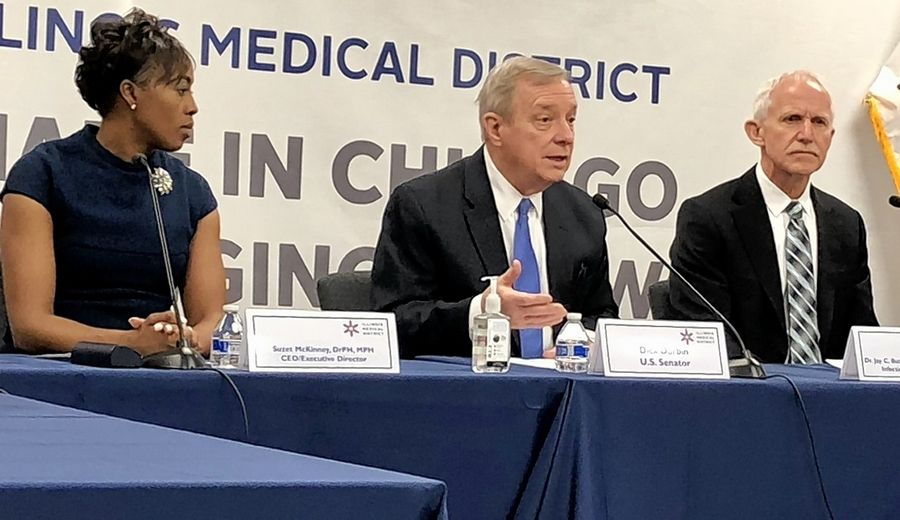 U.S. Sen. Dick Durbin, center, briefed the public on the coronavirus along with Centers for Disease Control expert Jay Butler, left, and other local state and federal officials at the Illinois Medical District Friday.