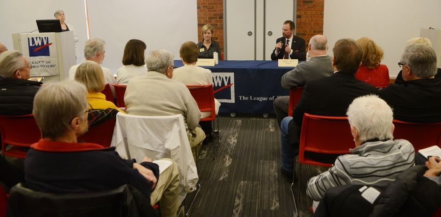 "Jeanne Ives and Gordon ""Jay"" Kinzler answer questions during the League of Women Voters candidate forum featuring candidates for the Republican nomination for the 6th Congressional District at the Barrington Area Library Saturday."