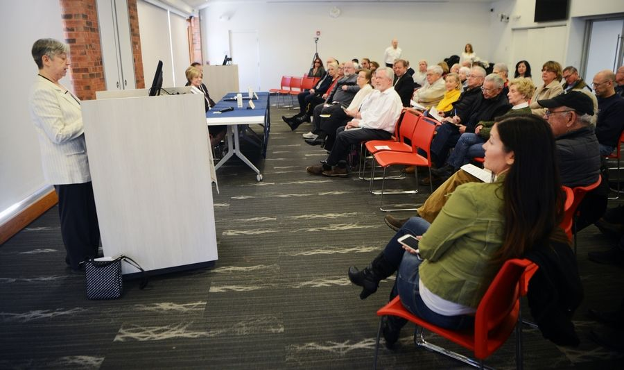 "Lisa Slankard is the moderator during the League of Women Voters candidate forum featuring for Jeanne Ives and Gordon ""Jay"" Kinzler, candidates for the Republican nomination for the 6th Congressional District, at the Barrington Area Library Saturday."