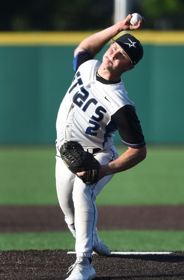 Joe Lewnard/jlewnard@dailyherald.comSt. Charles North relief pitcher Nick Demarco delivers the final pitch during the Class 4A state baseball semifinal in Joliet Friday. The North Stars defeated St. Rita 6-4.