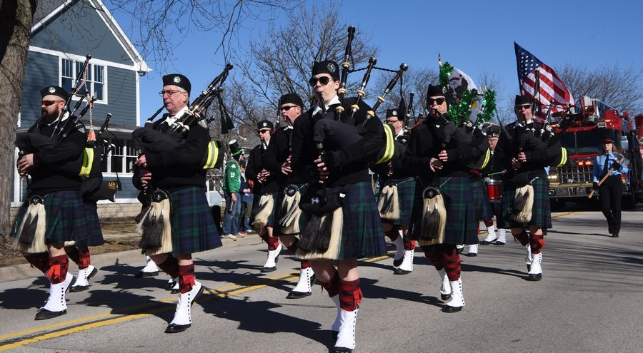 Bagpipers from the Firefighters Highland Guard of Naperville perform during last year's West Suburban Irish St. Patrick's Day Parade in Naperville.