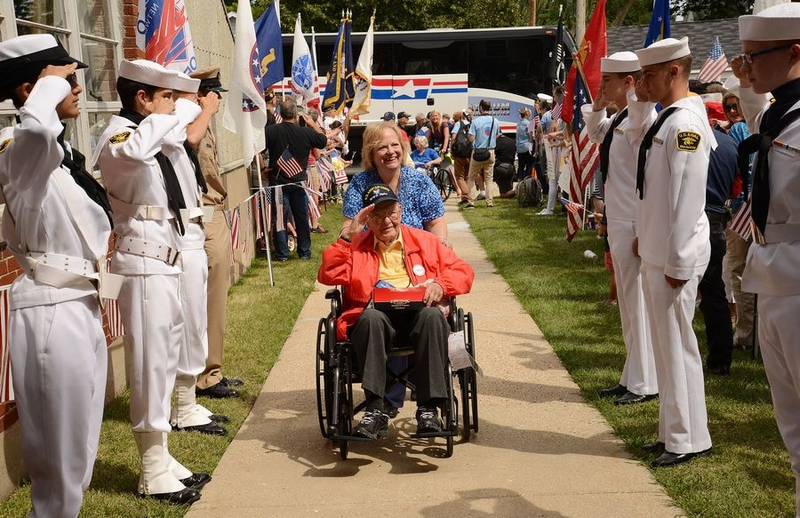 World War II veteran Walt Hermann, 95 of Wonder Lake, was welcomed home after a traditional Honor Flight in 2015. The area's first Flightless Honor Flight, which was to be held at Lake Zurich High School on Sunday, was canceled over coronavirus fears.