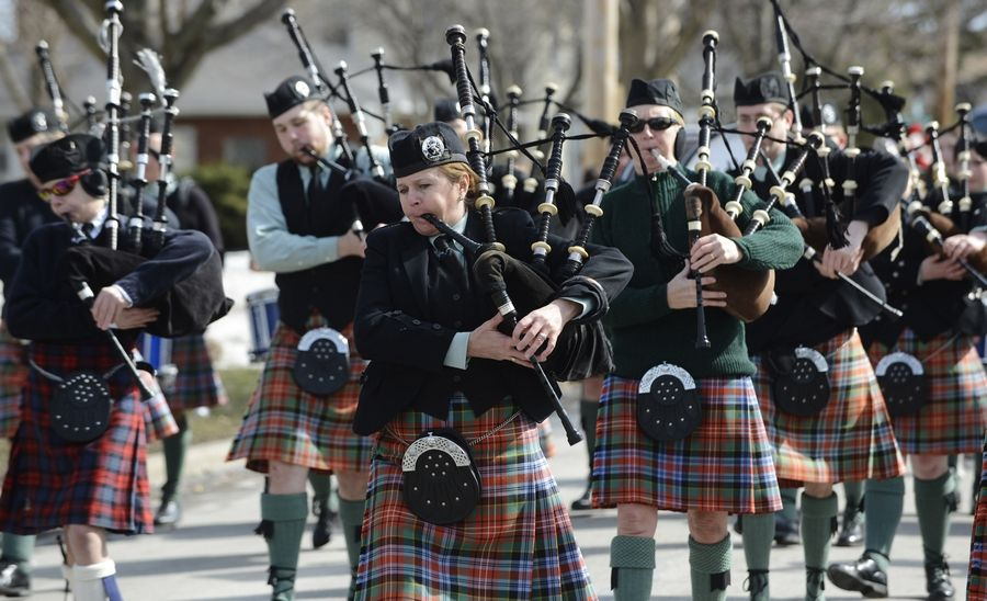 The Midlothian Pipe Band performs during a past Paint the Town Green parade in Palatine. The parade steps off at 11 a.m. Saturday, from Wood and Oak streets.