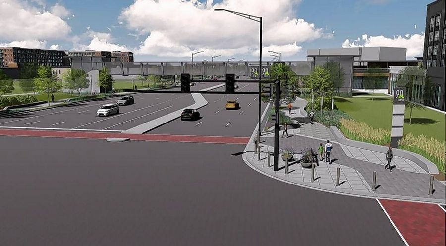 Schaumburg officials are considering a $27 million proposal that re-imagines North Meacham Road between the former Motorola Solutions campus and a proposed entertainment district. The plan includes a pedestrian bridge over Meacham.