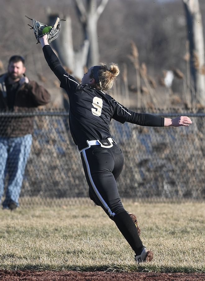 Grayslake North shortstop Faith Standerski makes a leaping catch last spring. The Northern Iowa signee returns for her fourth varsity season.