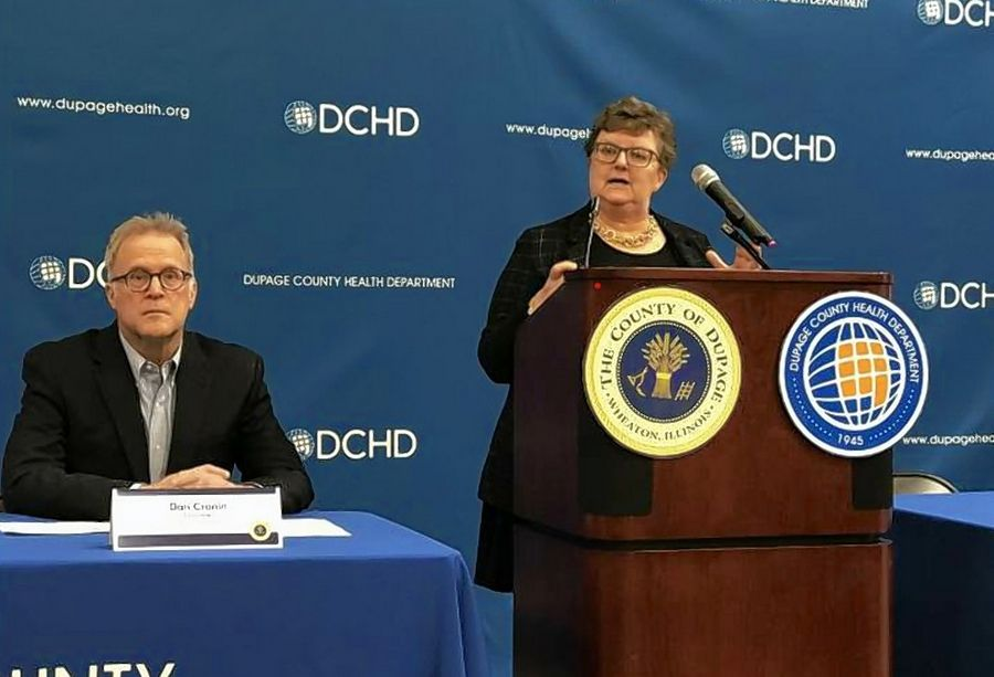 DuPage County Board Chairman Dan Cronin, left, and county health department Executive Director Karen Ayala, discussed the county's response to the coronavirus, during a news conference Sunday in Wheaton.