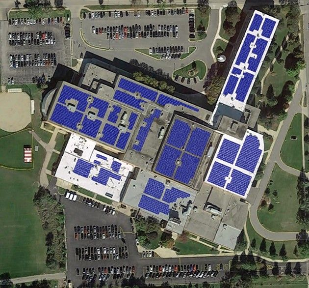 Glenbard East High School in Lombard will have more than 2,900 solar panels on its roof.