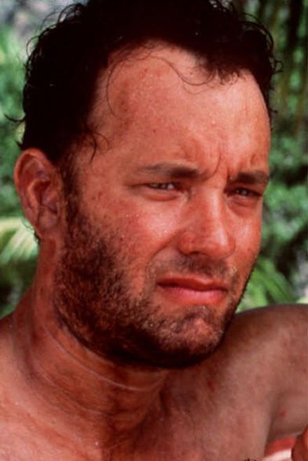 "Tom Hanks in ""Cast Away."""