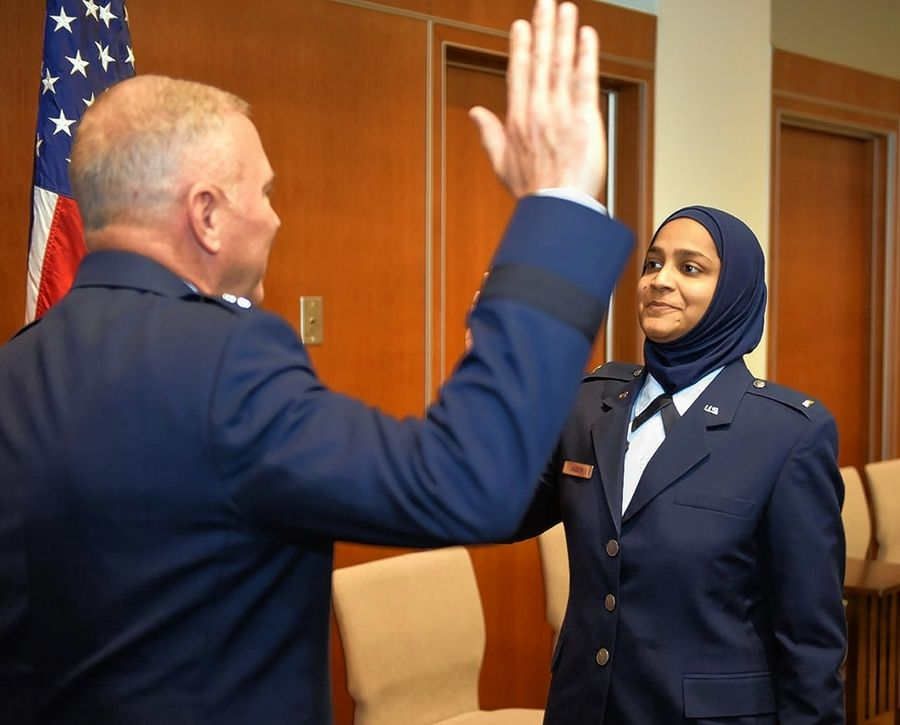 Chaplain candidate Saleha Jabeen is commissioned by Maj. Gen. Steven Schaick, Air Force chief of chaplains, on Dec. 18, 2019, at the Catholic Theological Union in Chicago. Jabeen is the first female Muslim chaplain in the Air Force and Department of Defense.