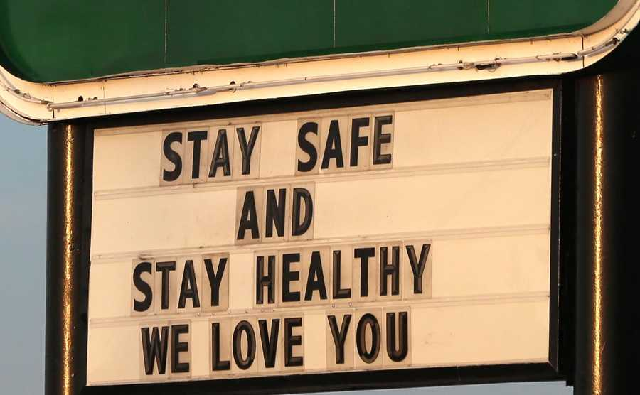 A sign at Around the Clock Restaurant and Bakery in Crystal Lake on Tuesday encourages people to stay healthy amid concerns over the spread of the Coronavirus.