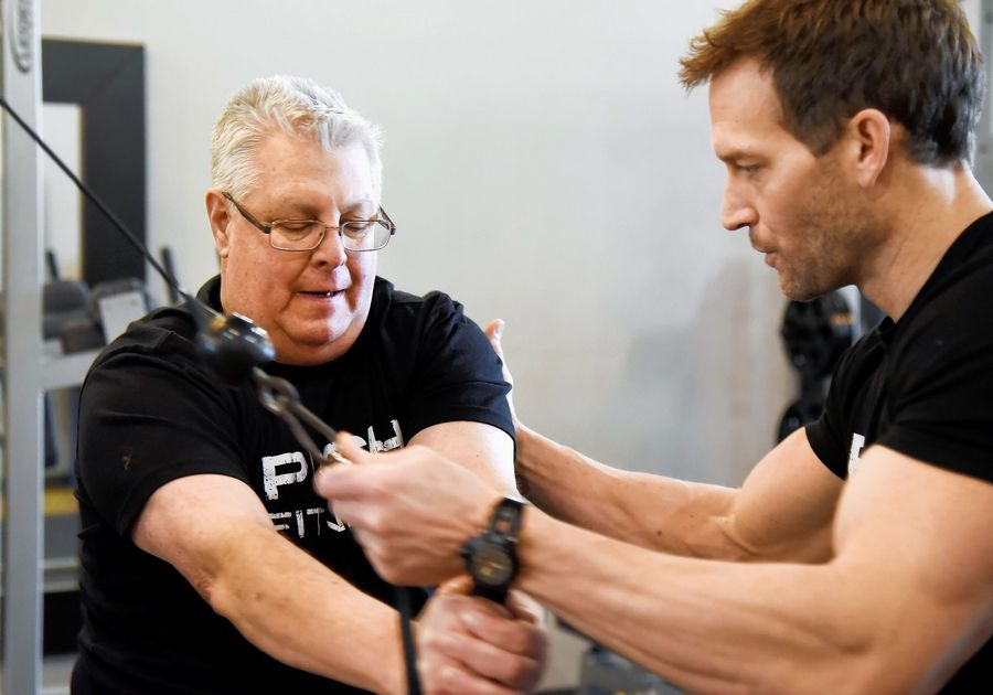 2020 Daily Herald Fittest Loser contestant Dick Quagliano works with trainer Joshua Steckler at Push Fitness in Schaumburg.