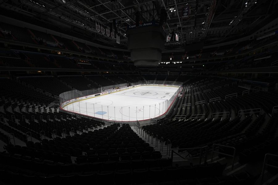 The empty Capital One Arena, home of the Washington Capitals.