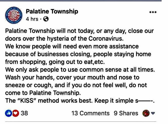 Palatine Township trustees and other officials are calling for a township social media policy in the wake of this post Supervisor Sharon Langlotz-Johnson on the government's official Facebook page. Some township officials are criticizing Langlotz-Johnson for the post.