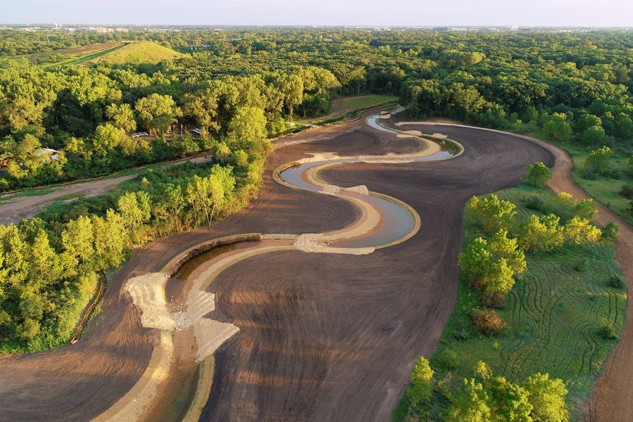 More than half of the new creek channel has been built as part of a roughly $7.5 million restoration of Spring Brook Creek at Blackwell Forest Preserve near Warrenville.