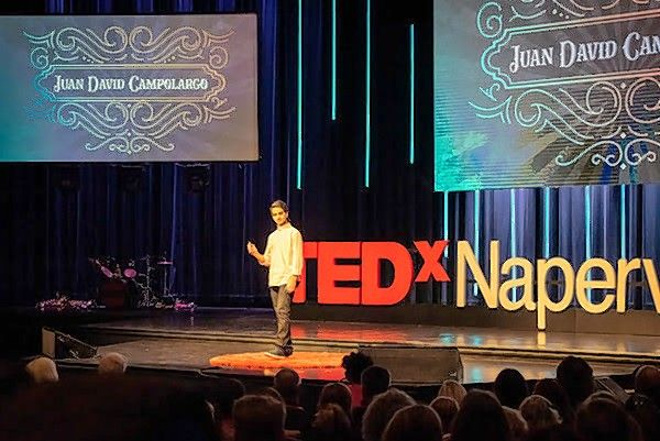 "Juan David Camplargo gave two TEDx talks last fall, one in Naperville and one in Colorado, about his book ""Generation Optimism: Creating the Next Generation of Doers & Dreamers."""