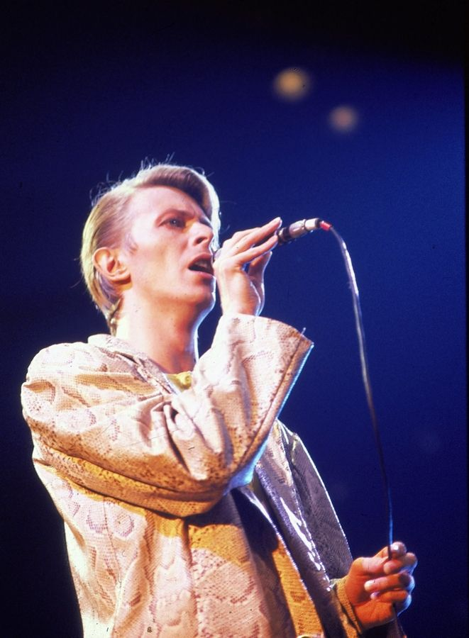 David Bowie gives a concert in New York in May 1978.