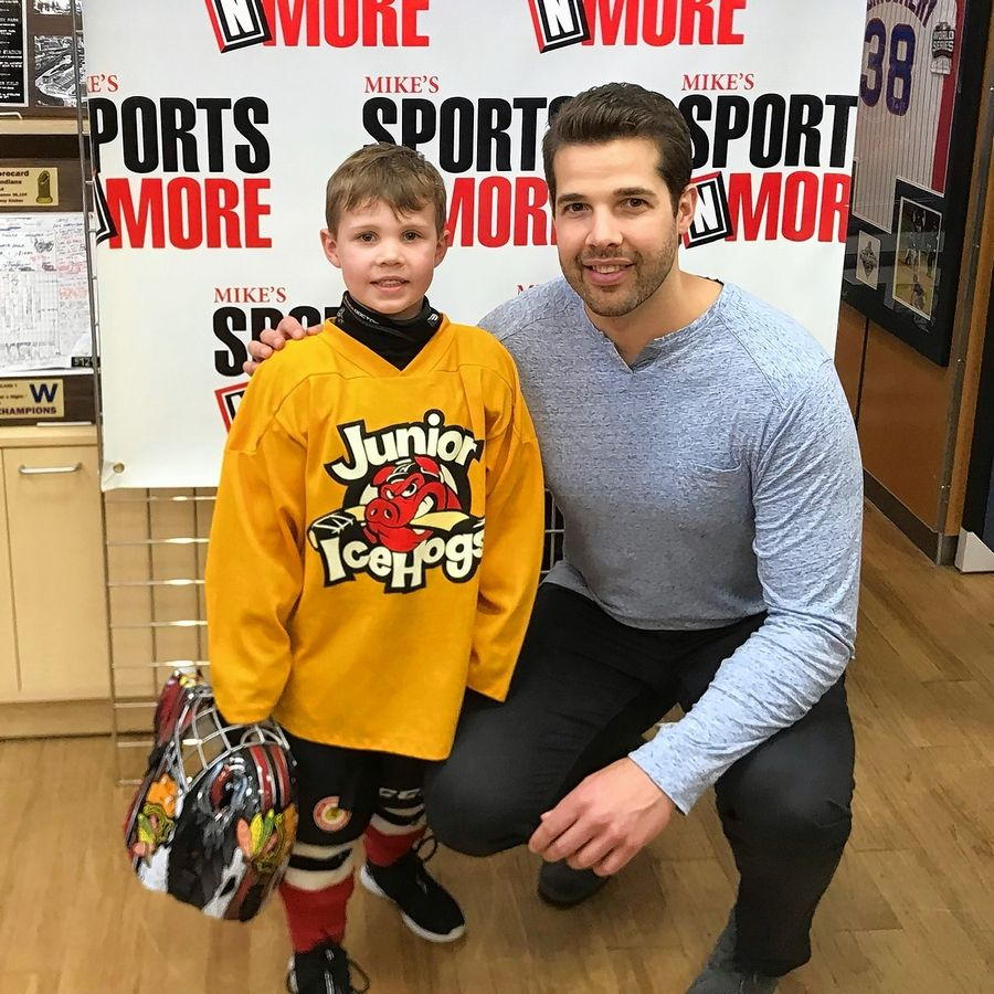 Belvidere's Declan Dassie seen here with Blackhawks' goalie Corey Crawford. Captain Jonathan Toews made the 7-year-old boy's dream come true by wishing him a happy birthday on the Today show on Thursday.