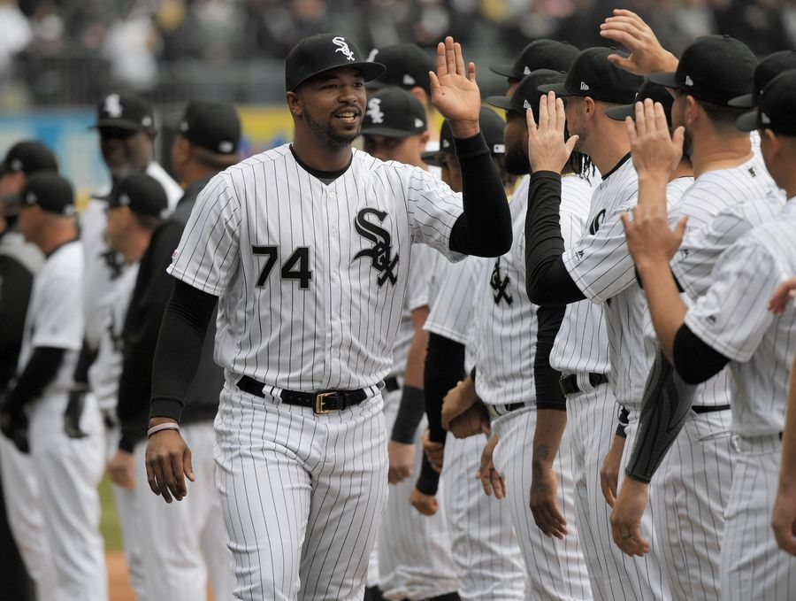 Chicago White Sox rookie left fielder Eloy Jimenez is introduced at the home opener to the 2019 MLB season at Guaranteed Rate Field in Chicago Friday.
