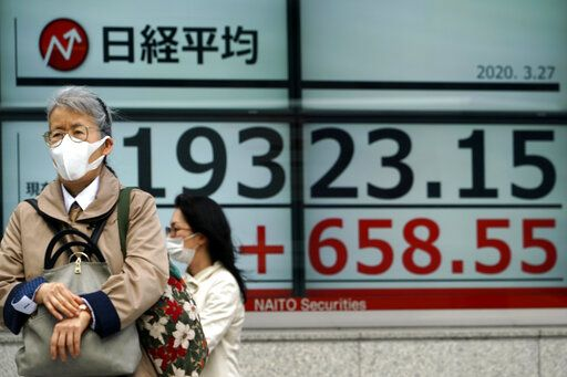 A woman walks past an electronic stock board showing Japan's Nikkei 225 index at a securities firm in Tokyo Friday, March 27, 2020. Shares are mostly higher in Asia after stocks surged again on Wall Street with the approaching approval of a massive coronavirus relief bill by Congress.