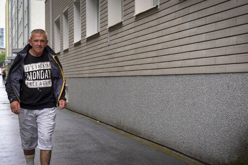 Igor Smirnov leaves a drug rehabilitation center in Tallinn, Estonia on Thursday, June 27, 2019. Smirnov was introduced to opiates the day his son was born, later migrating to a new drug that appeared on the quaint, cobbled streets of the country's capital, Tallinn: Fentanyl.