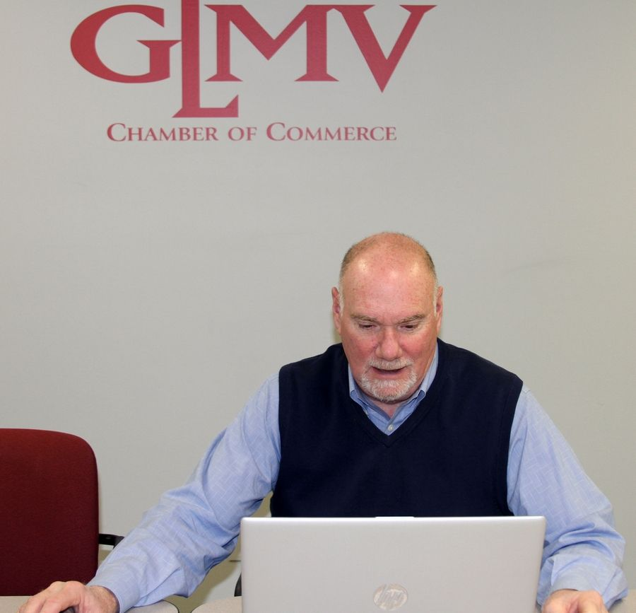 Scott Adams, president/CEO of the GLMV Chamber of Commerce, leads a virtual town hall meeting Friday morning.