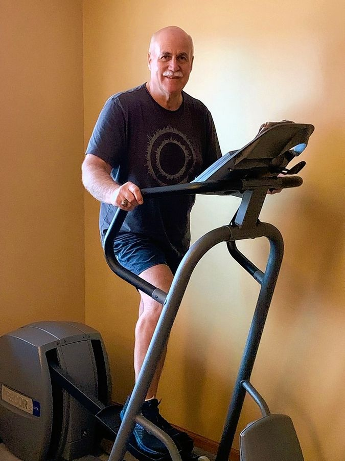 Fittest Loser contestant Van Dillenkoffer says he is fortunate to have purchased an elliptical machine several years ago, which he uses more now that he is unable to go to the gym.