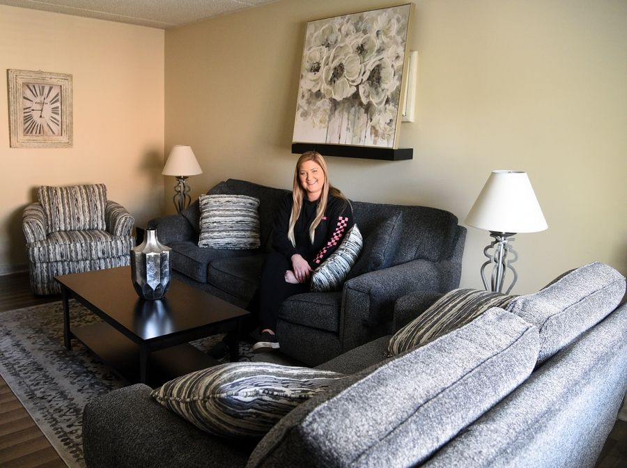 Bree Hagestedt was the winner of the Daily Herald Room for Living contest and won new furniture for her living room in Itasca.