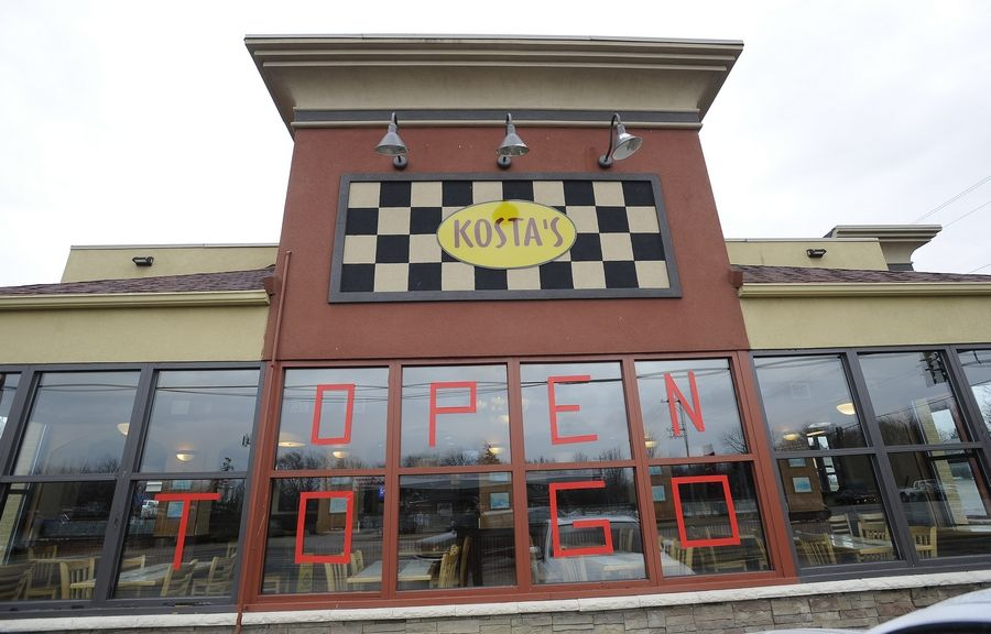 Kosta's restaurant in Palatine is closed to indoor dining because of the COVID-19 pandemic. Suburbs are losing millions of dollars in sales tax revenues because of the pandemic.
