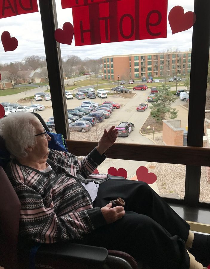Mary Lett celebrated her 90th birthday Monday while looking out of her fourth floor at Lutheran Home in Arlington Heights to watch her family staging a drive-by parade party in her honor.