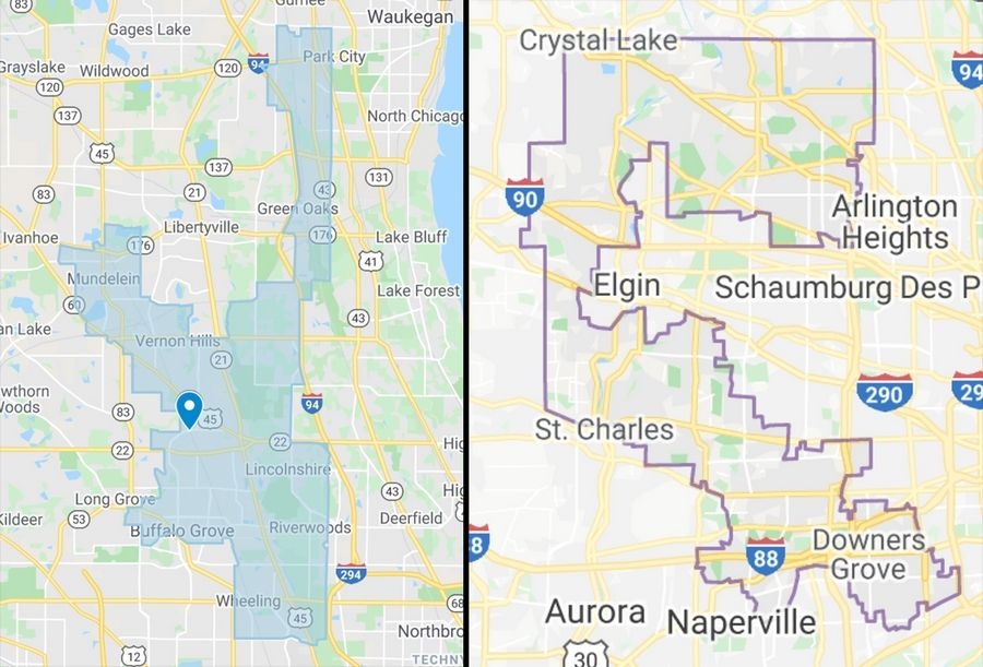 Illinois' 59th House District, left, held by Democrat Daniel Didech, and 6th Congressional District, held by Democrat Sean Casten, are examples of gerrymandered districts, according to Change Illinois. The Fair Maps Amendment would put legislative redistricting in the hands of an independent commission.