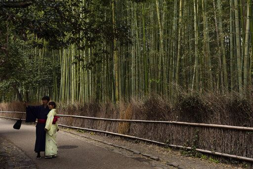 A couple takes a selfie at the Arashiyama Bamboo Forest in Kyoto, Japan, March 18, 2020. Widening travel restrictions and closures of most tourism and entertainment venues have gutted the tourism industry in many parts of the world, as well as in Japan.