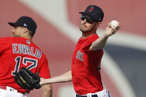 Boston Red Sox starting pitcher Chris Sale throws during spring training baseball camp Wednesday, Feb. 19, 2020, in Sarasota, Fla.