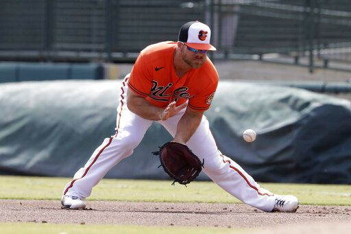 Baltimore Orioles first baseman Chris Davis fields a ground ball from Tampa Bay Rays' Michael Perez in the first inning of a spring training baseball game Monday, March 2, 2020, in Sarasota, Fla.