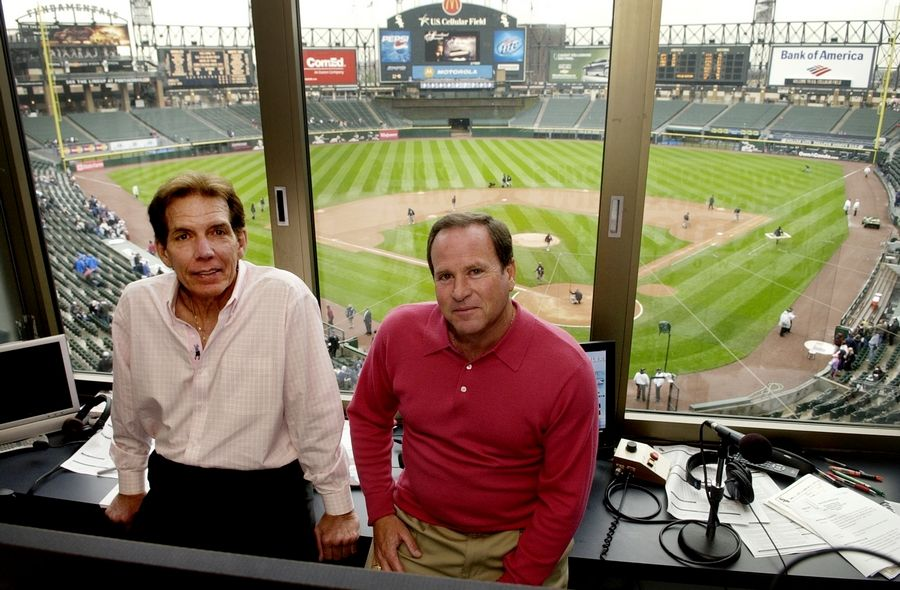 Radio broadcasters Ed Farmer and Steve Stone in the broadcast booth in 2008.