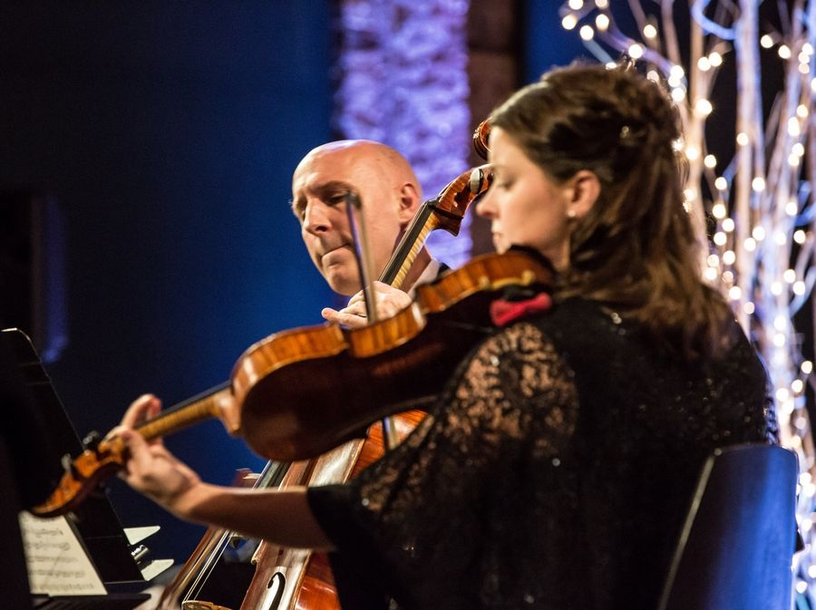 Violist Rebecca Swan and cellist Matthew Agnew performing on a Chamber Music on the Fox concert last October. These are two of the 11 musicians who will perform the digital Mini-Concerts.