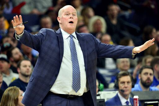 Orlando Magic coach Steve Clifford reacts during the second half of the team's NBA basketball game against the Memphis Grizzlies on Tuesday, March 10, 2020, in Memphis, Tenn.