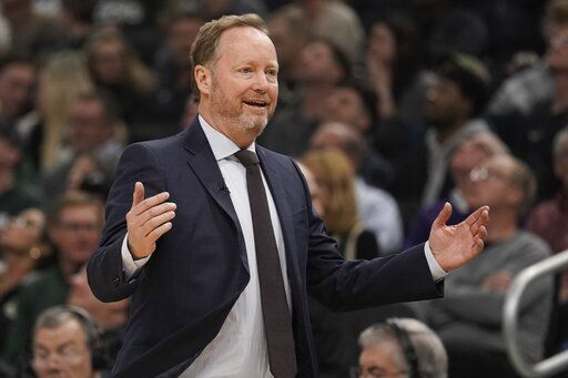 Milwaukee Bucks head coach Mike Budenholzer reacts during the first half of an NBA basketball game against the Philadelphia 76ers Saturday, Feb. 22, 2020, in Milwaukee.