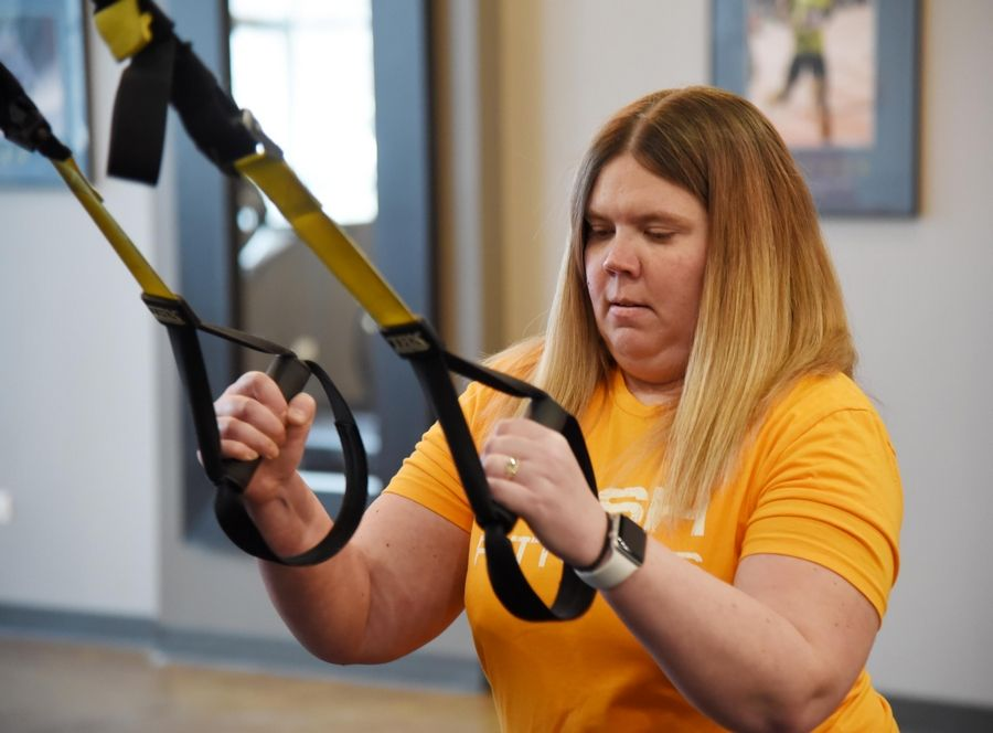 Barbara Simon and other Fittest Loser Challenge participants now have to rely on more self-motivation after workouts moved from the fitness center to home.