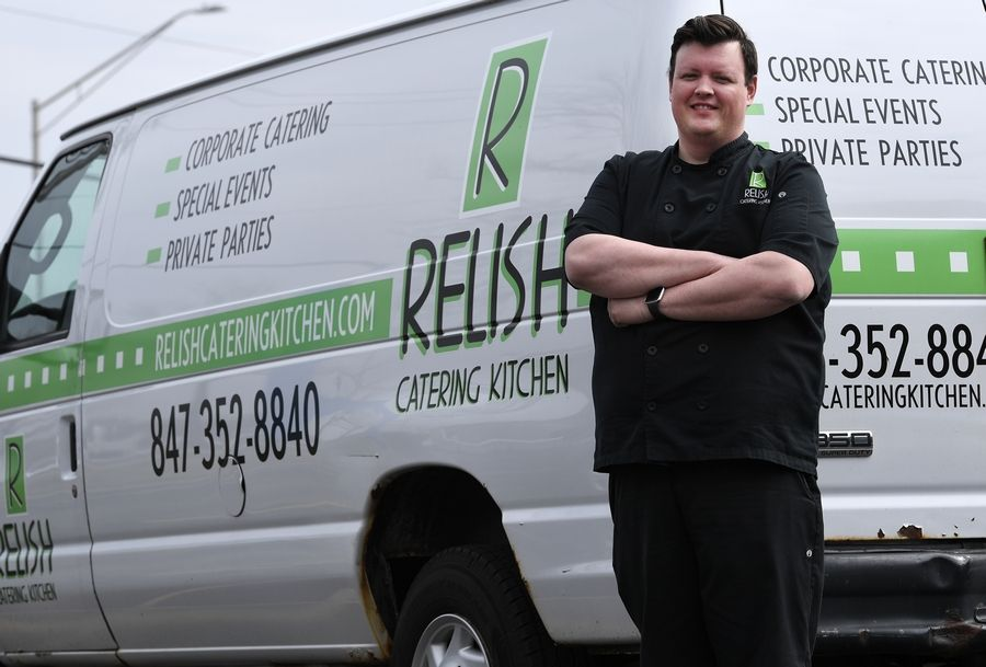 John Eggert of Relish Catering Kitchen in Schaumburg has completely changed his business model, turning his catering service into grocery delivery.