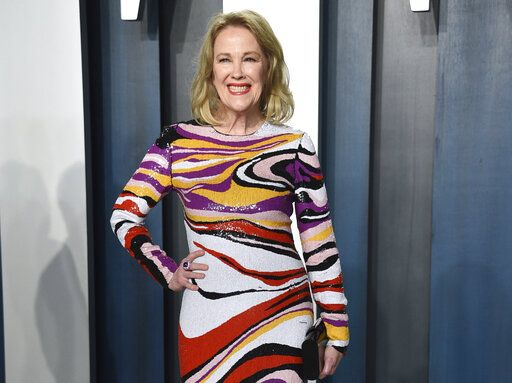 FILE - This Feb. 9, 2020 file photo shows actress Catherine O'Hara, star of 'œSchitt's Creek,'� at the Vanity Fair Oscar Party in Beverly Hills, Calif. After six seasons, 'œSchitt's Creek'� is coming to a close. Its last episode airs Tuesday on Pop TV.  (Photo by Evan Agostini/Invision/AP, File)