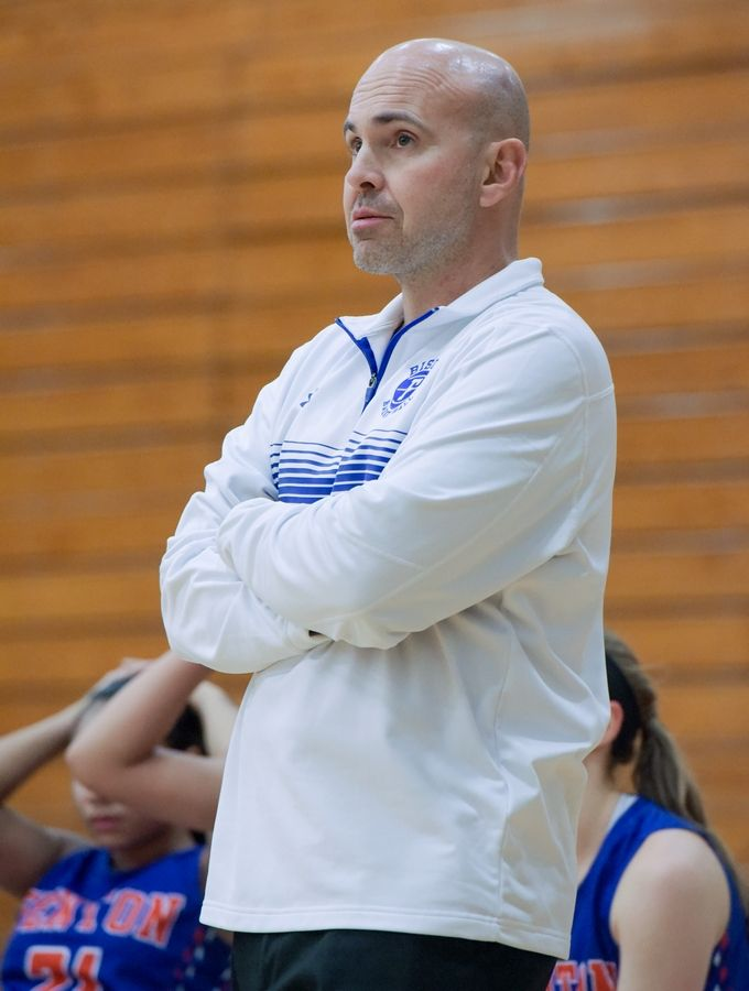 Fenton girls basketball coach Dave Mello during a game against Addison Trail in 2017.