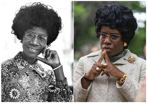 "This combination photo shows Shirley Chisholm, D-N.Y.,  the first black woman elected to Congress and an outspoken advocate for women and minorities in this 1971 file photo, left, and actress Uzo Aduba as Shirley Chisholm in a scene from the miniseries ""Mrs. America,"" an FX original series premiering April 15 on Hulu."