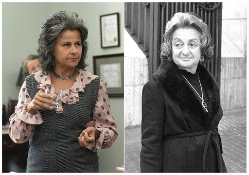 "This combination photo shows Tracey Ullman as Betty Friedan in a scene from the miniseries ""Mrs. America,"" left, and U.S. Women's Liberation leader Betty Friedan in Vatican City, Rome, on Oct. 24, 1973. The FX original series premieres April 15 on Hulu. (FX via AP, left, and AP Photo/Mario Torrisi)"