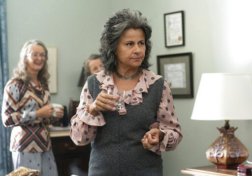"This image released by FX shows Tracey Ullman as Betty Friedan in a scene from the miniseries ""Mrs. America,"" an FX original series premiering April 15 on Hulu. (Sabrina Lantos/FX via AP)"