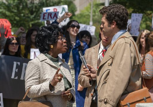 "This image released by FX shows Uzo Aduba as Shirley Chisholm in a scene from the miniseries ""Mrs. America,"" an FX original series premiering April 15 on Hulu. (Sabrina Lantos/FX via AP)"