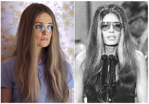 "This combination photo shows Rose Byrne as Gloria Steinem in a scene from the miniseries ""Mrs. America,"" left, and Steinem speaking at the Democratic National Convention in Miami Beach, Fla. on July 13, 1972. The FX original series premiering April 15 on Hulu. (Sabrina Lantos/FX via AP)"