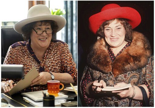 "This combination photo shows Margo Martindale as Bella Abzug in a scene from the miniseries ""Mrs. America,"" left, and Congresswoman Bella Abzug at a movie premiere in New York on Oct. 31, 1972. The FX original series premiering April 15 on Hulu. (Sabrina Lantos/FX via AP, left, and AP Photo)"
